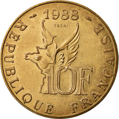 Coin, France, 10 Francs, 1988, MS(65-70), Aluminum-Bronze, KM:E139, Gadoury:821