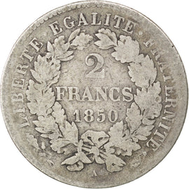 Coin, France, Cérès, 2 Francs, 1850, Paris, VF(20-25), Silver, KM:760.1