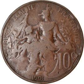 Coin, France, Dupuis, 10 Centimes, 1901, Paris, VF(20-25), Bronze, KM:843