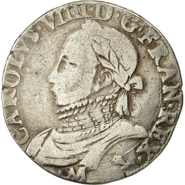 coin, Charles IX, Teston, 1574, Toulouse, VF(30-35), Silver, Sombart 4634