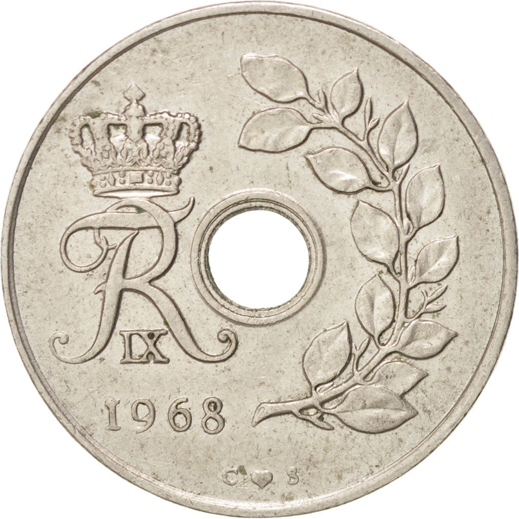 DENMARK, 25 Ore, 1968, Copenhagen, KM #855.1, EF(40-45), Copper-Nickel, 23