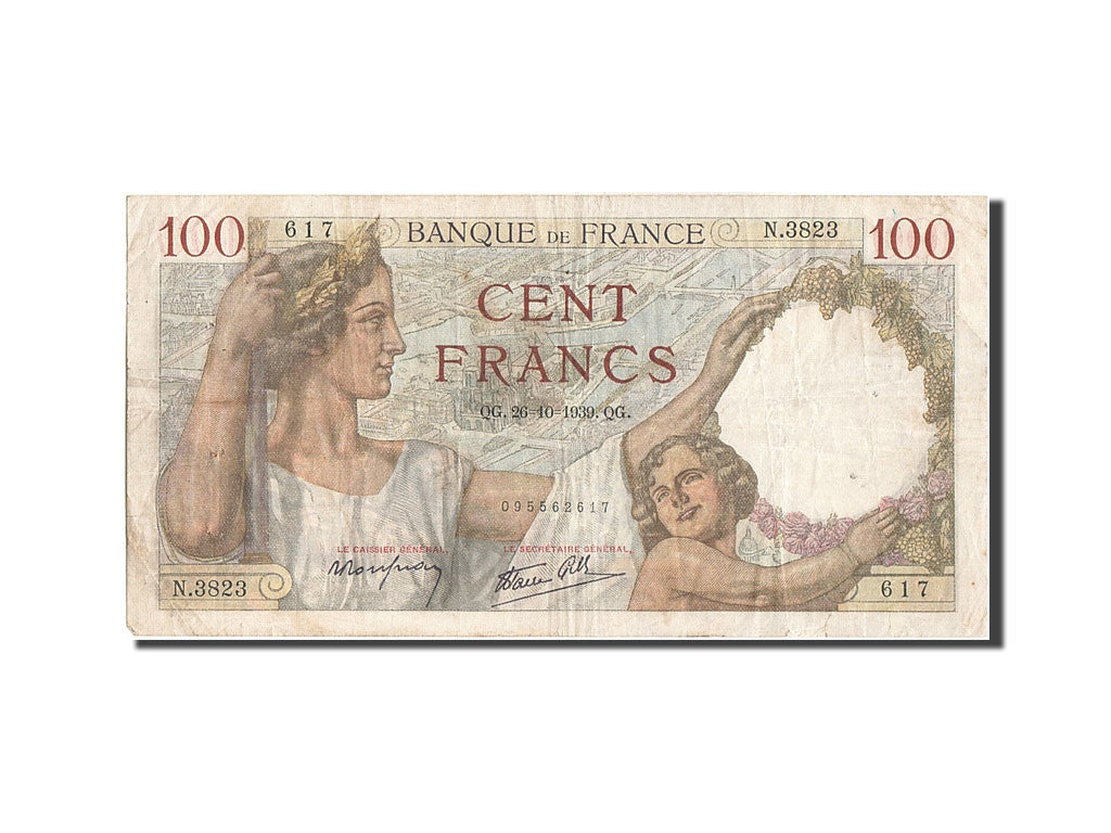 France, 100 Francs, 100 F 1939-1942 ''Sully'', 1939, KM #94, 1939-10-26,...