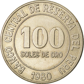 Coin, Peru, 100 Soles, 1980, AU(50-53), Copper-nickel, KM:283
