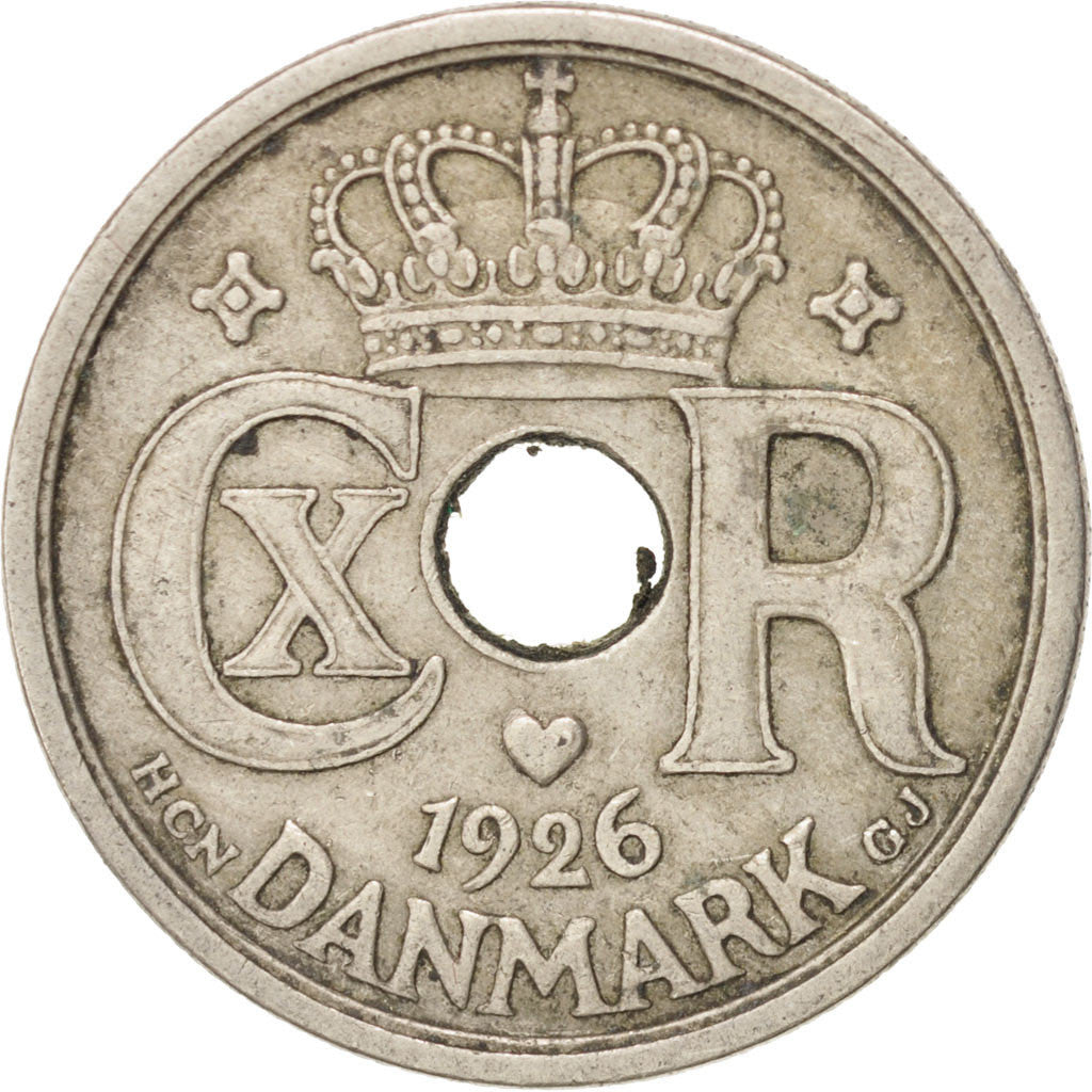 DENMARK, 25 Ore, 1926, Copenhagen, KM #823.1, EF(40-45), Copper-Nickel
