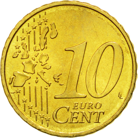 Portugal, 10 Euro Cent, 2003, MS(65-70), Brass, KM:743