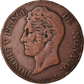 Coin, Monaco, Honore V, 5 Centimes, Cinq, 1838, Monaco, VF(30-35), Copper