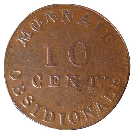 FRENCH STATES, 10 Centimes, 1814, Antwerp, KM #5.4, VF(30-35), Bronze, Gadoury..