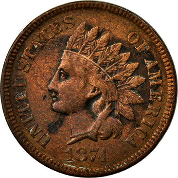 Coin, United States, Indian Head Cent, Cent, 1874, Philadelphia, EF(40-45)