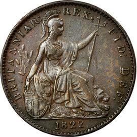 Coin, Great Britain, George IV, Farthing, 1822, AU(50-53), Copper, KM:677