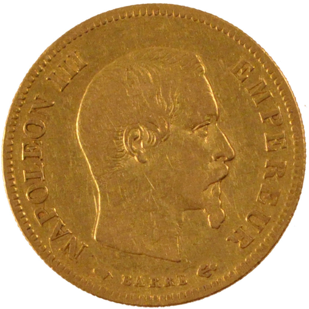 FRANCE, 10 Francs, 1855, Paris, EF(40-45), Gold, 3.22