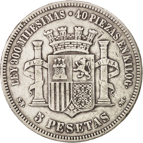 Spain,Provisional Government,5 Pesetas,1870,Madrid,VF(30-35),Silver,KM 655