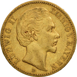 Coin, German States, BAVARIA, Ludwig II, 20 Mark, 1873, EF(40-45), Gold, KM:894