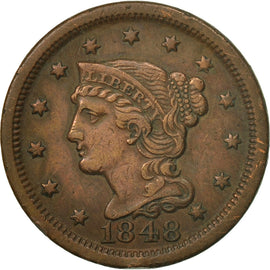Coin, United States, Braided Hair Cent, Cent, 1848, U.S. Mint, Philadelphia
