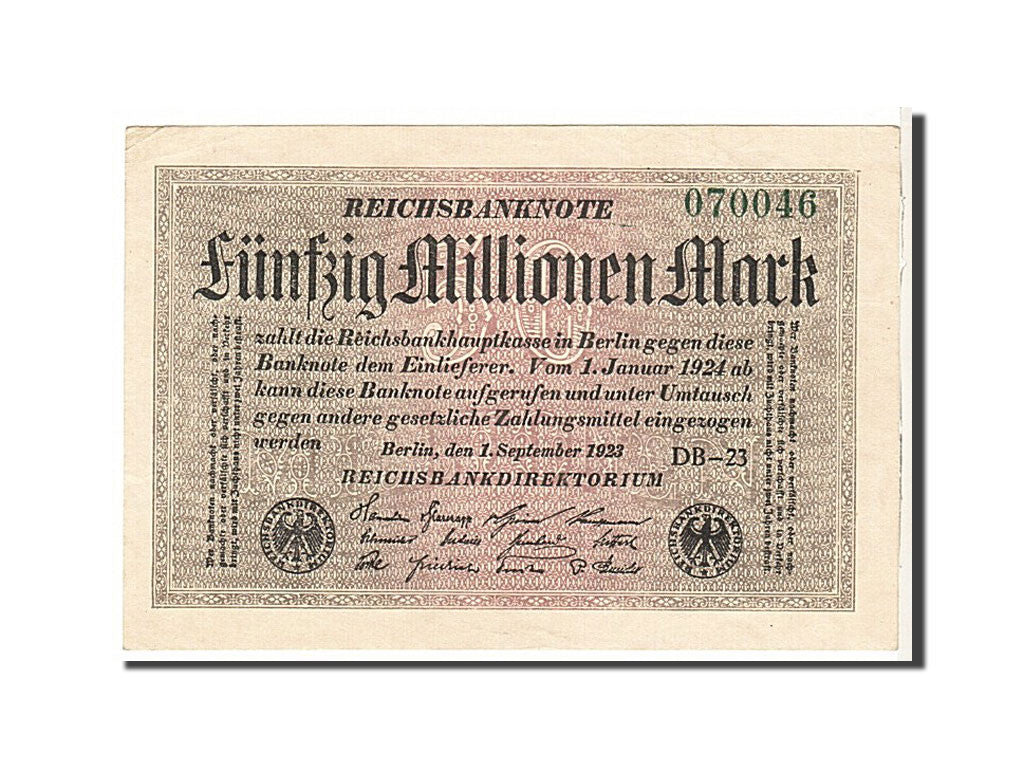 Germany, 50 Millionen Mark, 1923, KM #109c, EF(40-45), 070046