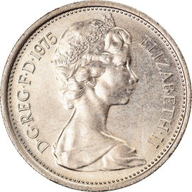 Coin, Great Britain, Elizabeth II, 5 New Pence, 1975, AU(55-58), Copper-nickel