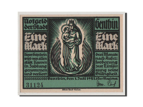 Germany, Genthin, 1 Mark, 1921, UNC(65-70), 31124, Mehl #419.1