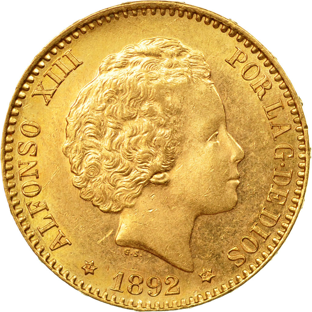 Coin, Spain, Alfonso XIII, 20 Pesetas, 1892, Madrid, MS(60-62), Gold, KM:701