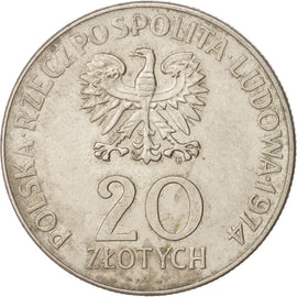 POLAND, 20 Zlotych, 1974, Warsaw, KM #70, EF(40-45), Copper-Nickel, 29