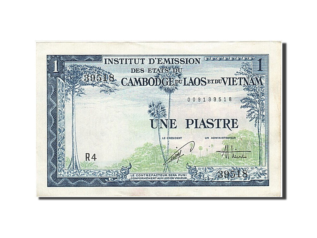 French Indo-China, 1 Piastre = 1 Dong, 1954, KM #105, AU(55-58), 009139518