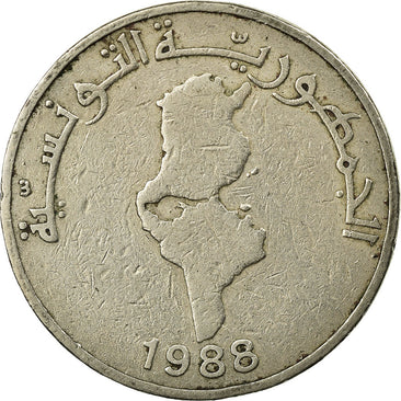 Coin, Tunisia, 1/2 Dinar, 1988, Paris, VF(30-35), Copper-nickel, KM:318