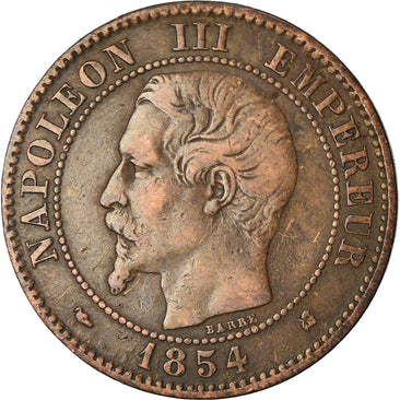 Coin, France, Napoleon III, 2 Centimes, 1854, Bordeaux, VF(30-35)