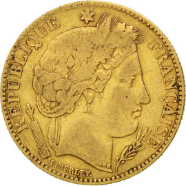 Coin, France, Cérès, 10 Francs, 1850, Paris, VF(20-25), Gold, KM:770
