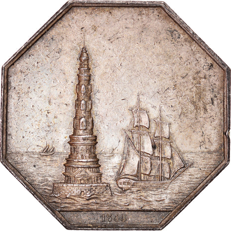 France, Token, Bordeaux, Assurances maritimes La Gironde, 1844, AU(55-58)