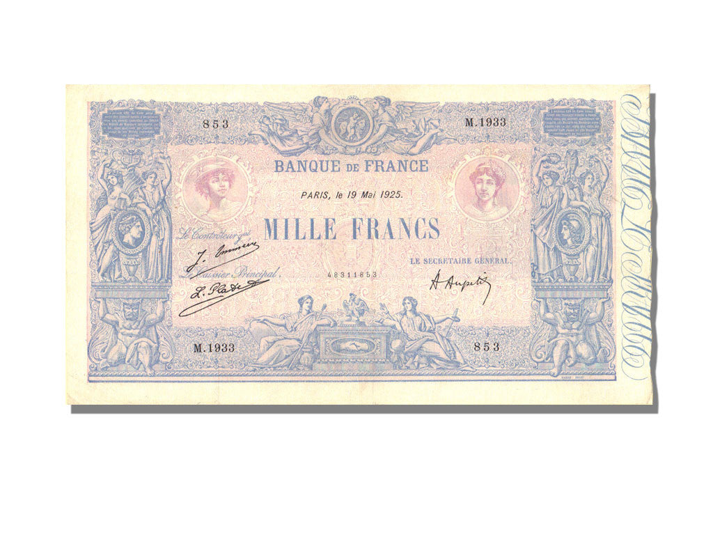 France, 1000 Francs, 1 000 F 1889-1926 ''Bleu et Rose'', 1925, KM #67j,...