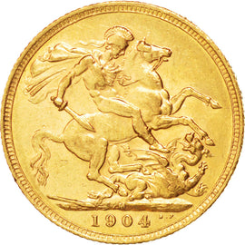 AUSTRALIA, Sovereign, 1904, Melbourne, KM #15, AU(50-53), Gold, 21, 7.99