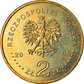 Coin, Poland, Solidarnosc, 2 Zlote, 2005, Warsaw, MS(60-62), Brass, KM:565