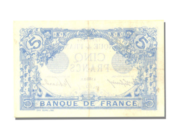 France, 5 Francs, 5 F 1912-1917 ''Bleu'', 1913, KM #70, 1913-08-05, UNC(60-62),.