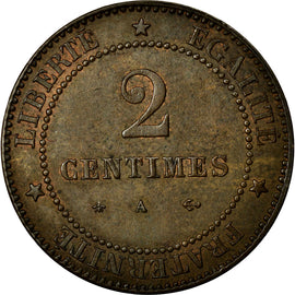 Coin, France, Cérès, 2 Centimes, 1877, Paris, AU(55-58), Bronze, Gadoury:105