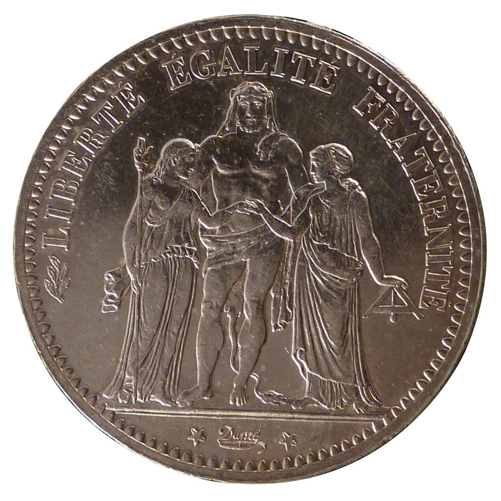 Coin, France, Hercule, 5 Francs, 1874, Paris, MS(60-62), Silver, Gadoury:745a