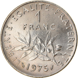 Coin, France, Semeuse, Franc, 1975, Paris, AU(50-53), Nickel, KM:925.1