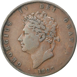 Coin, Great Britain, George IV, 1/2 Penny, 1827, VF(30-35), Copper, KM:692