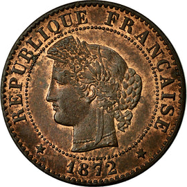Coin, France, Cérès, Centime, 1872, Paris, AU(55-58), Bronze, Gadoury:88