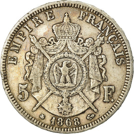 Coin, France, Napoleon III, Napoléon III, 5 Francs, 1868, Paris, VF(30-35)