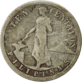 Coin, Philippines, 10 Centavos, 1917, San Francisco, VF(20-25), Silver, KM:169