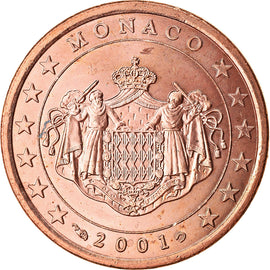 Monaco, 5 Euro Cent, 2001, MS(63), Copper Plated Steel, KM:169
