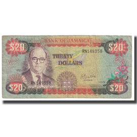 Banknote, Jamaica, 20 Dollars, 1979, 1979-10-01, KM:68a, VF(20-25)