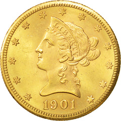 United States, Coronet Head, $10, 1901, San Francisco, MS(64), Gold, KM:102