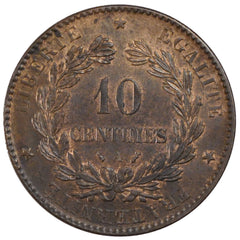 FRANCE, Cérès, 10 Centimes, 1888, Paris, KM #815.1, MS(60-62), Bronze, Gadoury #