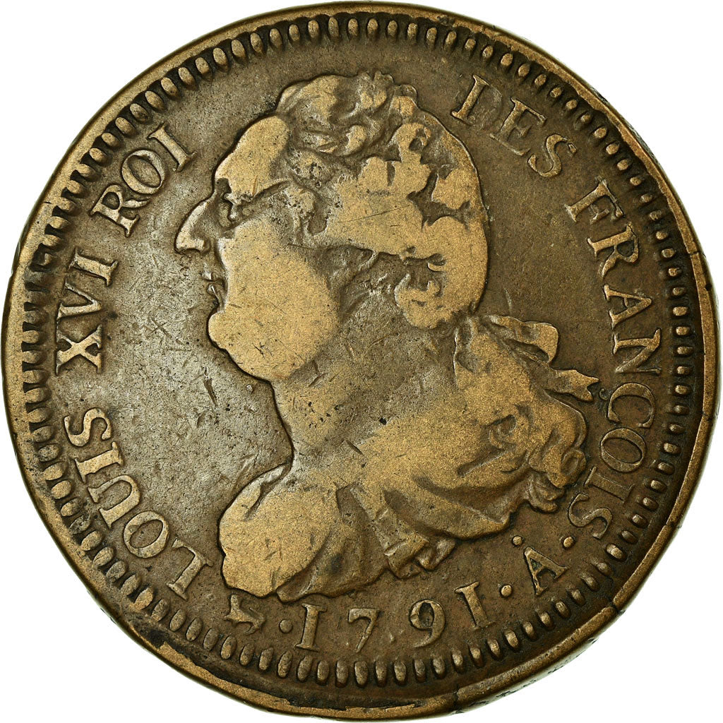 Coin, France, 2 sols françois, 2 Sols, 1791, Paris, VF(30-35), Bronze