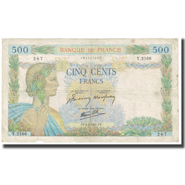 France, 500 Francs, 1941, BELIN ROUSSEAU GARGAM, 1941-02-06, VF(20-25)