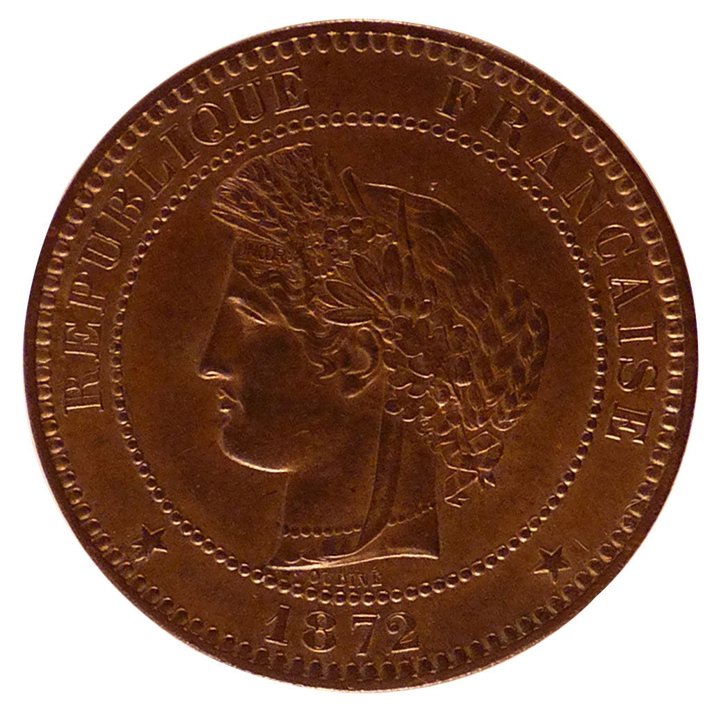 FRANCE, Cérès, 10 Centimes, 1872, Paris, KM #815.1, MS(60-62), Bronze, Gadoury #