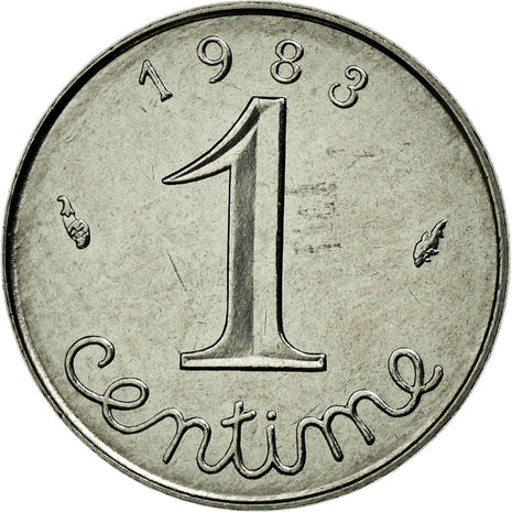 Coin, France, Épi, Centime, 1983, MS(65-70), Stainless Steel, Gadoury:91