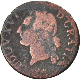 Coin, France, Louis XVI, Liard, 1785, Lille, VF(20-25), Copper, KM:585.14