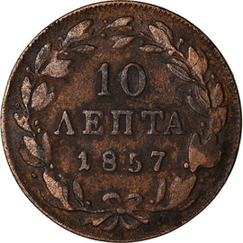 Coin, Greece, Othon, 10 Lepta, 1857, Athens, VF(20-25), Copper, KM:29