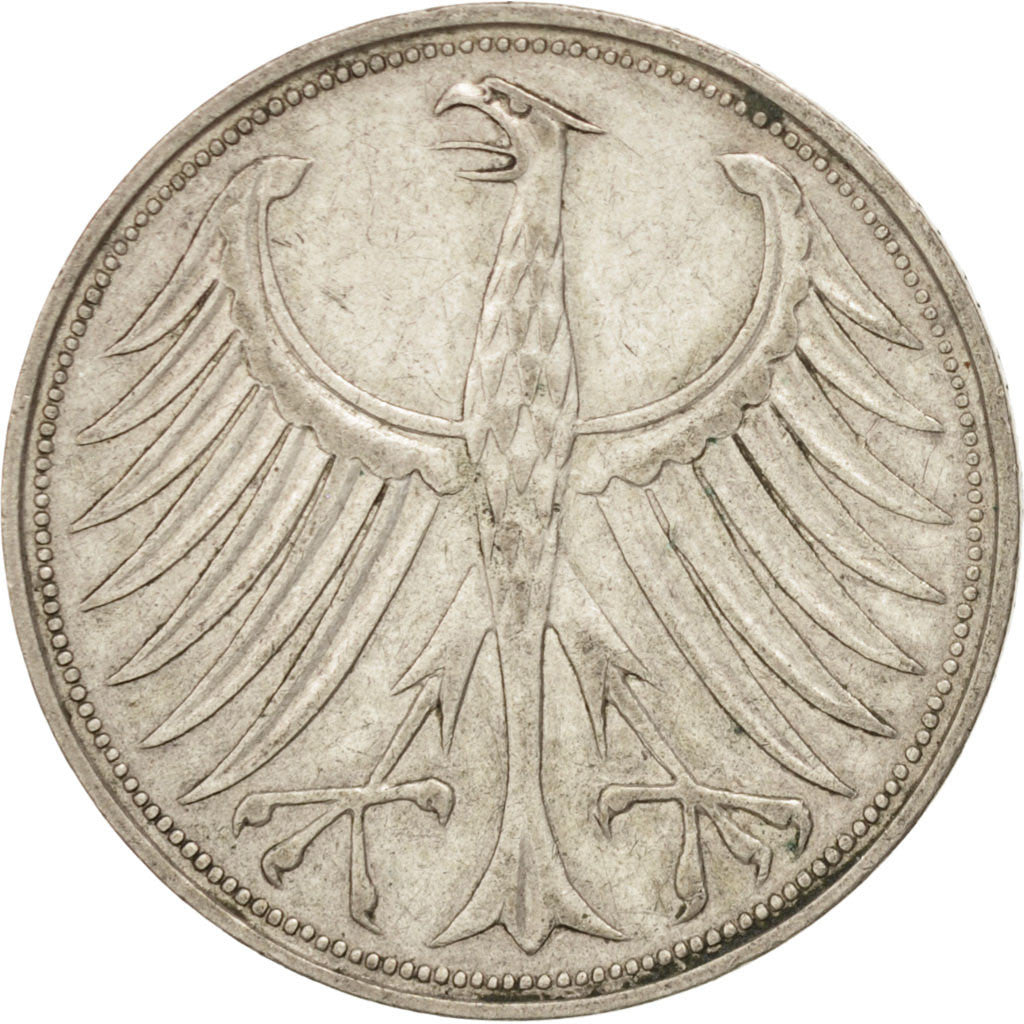 GERMANY - FEDERAL REPUBLIC, 5 Mark, 1958, Munich, KM #112.1, EF(40-45), Silver,.