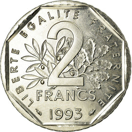 Coin, France, 2 Francs, 1993, MS(65-70), Nickel, Gadoury:548